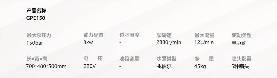 技术参数GPE150